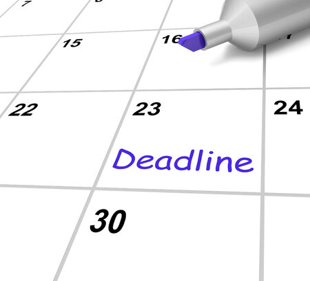 due date: Deadline Calendar Meaning Target And Due Date