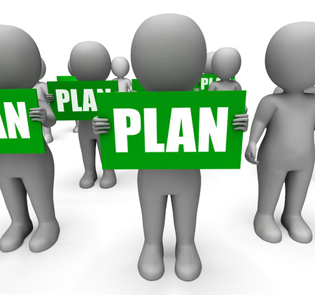 planned: Characters Holding Plan Signs Showing Objectives Aims And Plans