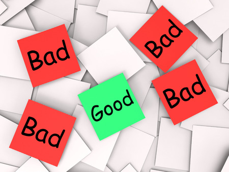 unacceptable: Good Bad Notes Meaning Acceptable Or Unacceptable Stock Photo