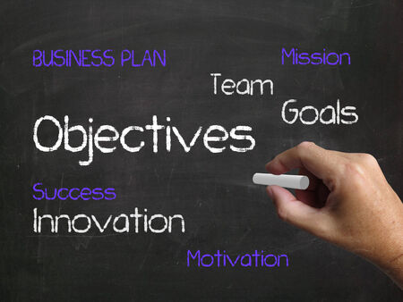 reachable: Objectives on Chalkboard Representing Aims Goals and Achievable Targets