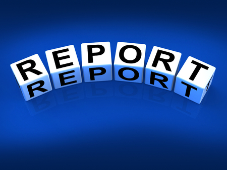 reported: Report Blocks Representing Reported Information or Articles Stock Photo