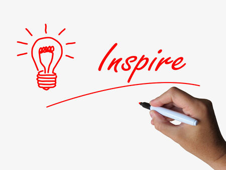 influential: Inspire and Lightbulb Referring to Inspiration Motivation and Influence Stock Photo