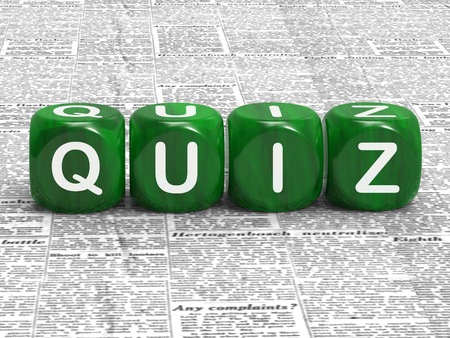 quizzing: Quiz Dice Showing Questions Answers And Testing Stock Photo