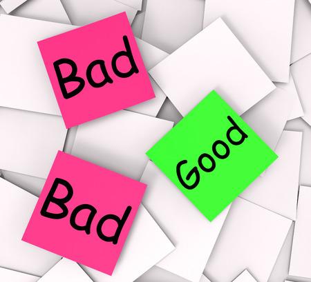 satisfying: Good Bad Notes Showing Satisfying Or Awful