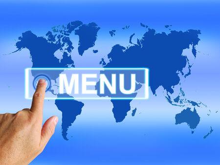 tabulation: Menu Map Referring to International Choosing and Options Stock Photo