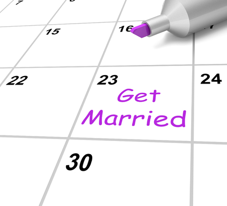 spouse: Get Married Calendar Showing Wedding And Spouse Stock Photo
