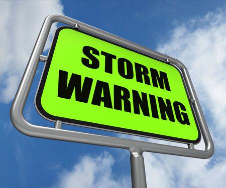 danger ahead: Storm Warning Sign Representing Forecasting Danger Ahead Stock Photo