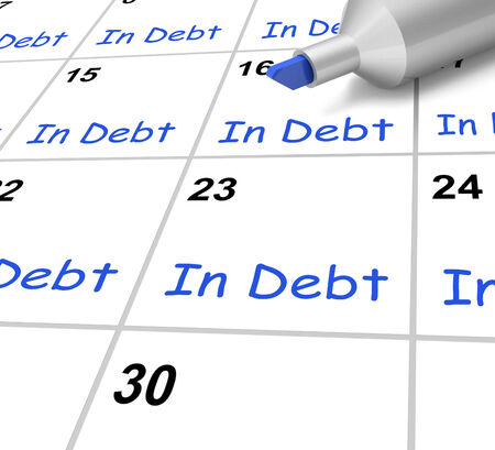 borrowed: In Debt Calendar Showing Borrowed Money Owed Stock Photo