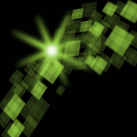 Green Cubes Background Meaning Futuristic Concept Or Pixeled Design