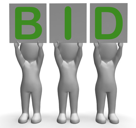 auction win: Bid Banners Showing Auction Bidder Seller And Auctioning Stock Photo