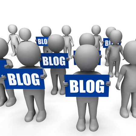 Characters Holding Blog Signs Meaning Social Media Sharing And Blogging Stock Photo