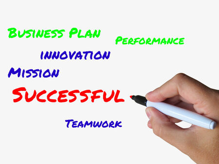 successes: Successful on Whiteboard Referring to Achieving Solutions and Accomplishment Stock Photo