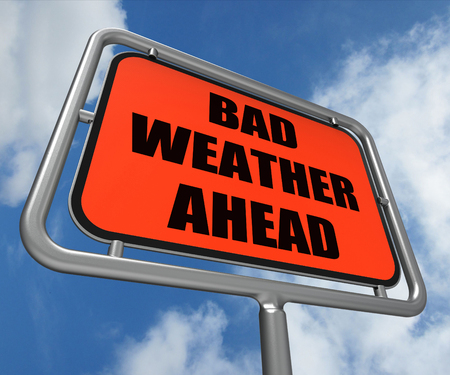 Bad Weather Ahead Sign Showing Dangerous Prediction photo