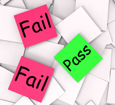 unsatisfactory: Pass Fail Post-It Notes Meaning Certified Or Unsatisfactory Stock Photo
