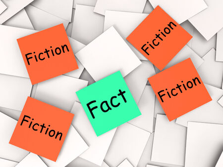 untrue: Fact Fiction Post-It Notes Meaning Truth Or Myth