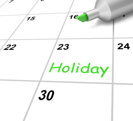 off day: Holiday Calendar Showing Downtime And Day Off Stock Photo