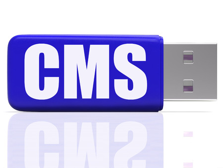 pen drive: CMS Pen drive Meaning Content Optimization Storing Or Data Traffic Stock Photo