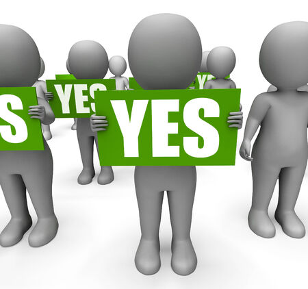 affirmation: Characters Holding Yes Signs Mean Agreement Affirmation And Confirmation Stock Photo