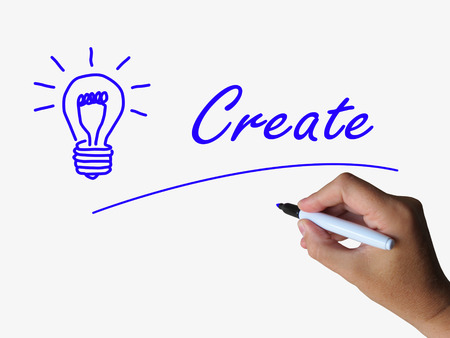 devise: Create and Lightbulb Representing Innovation Imagination and Brainstorming Stock Photo