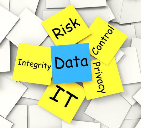 情報のプライバシーと整合性を示すデータ ポストイット メモ
