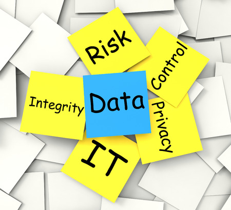 secure backup: Data Post-It Note Showing Information Privacy And Integrity Stock Photo