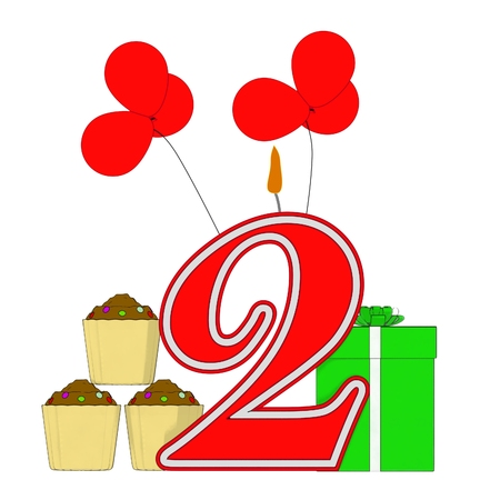 Number Two Candle Meaning Party Decoration Cupcakes And Balloons photo