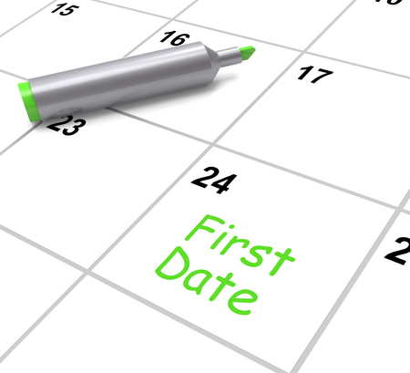 first date: First Date Calendar Showing Seeing Somebody And Romance