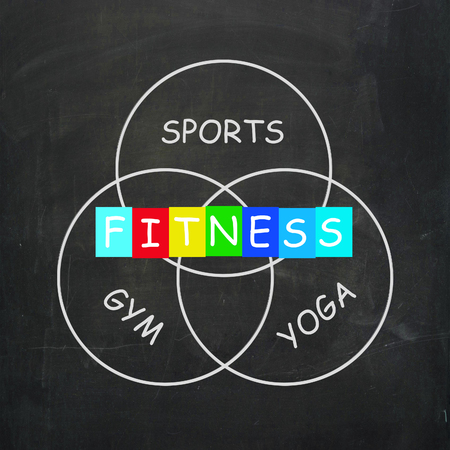 get a workout: Fitness Activities Including Sports Yoga and Gym Exercise Stock Photo