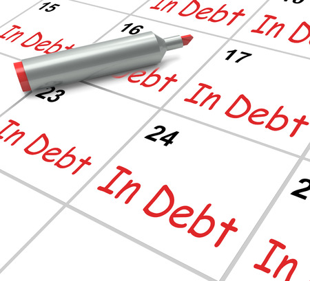 payable: In Debt Calendar Showing Money Owing And Due