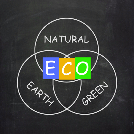 energetically: ECO On Blackboard Showing Environmental Care Or Eco-Friendly Nature