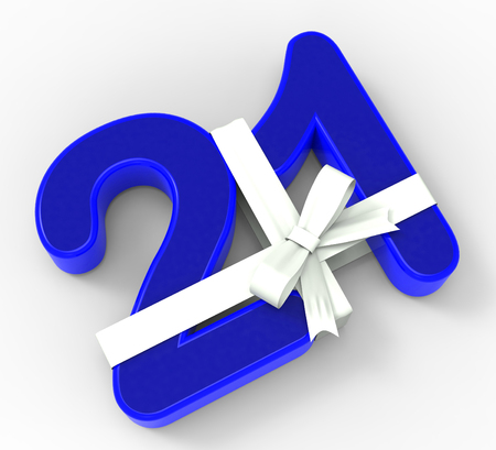 twenty one: Number Twenty One With Ribbon Showing Creative Design Or Birthday Adornment