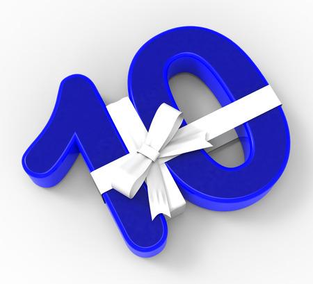 numero diez: Number Ten Con La Cinta Mostrando Diez Años celebración o aniversario