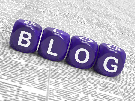 Blog Würfel zeigen Writing Nachrichten Marketing oder Meinungs Lizenzfreie Bilder
