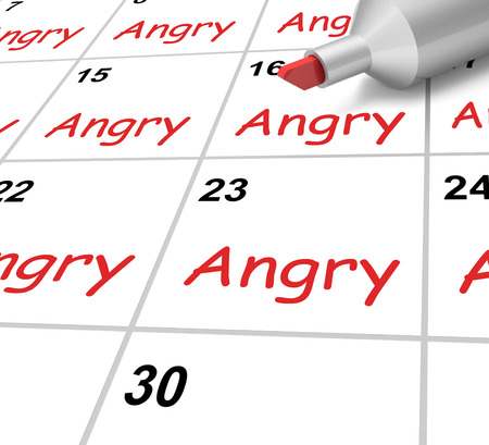 resentful: Angry Calendar Showing Mad Furious Or Resentful