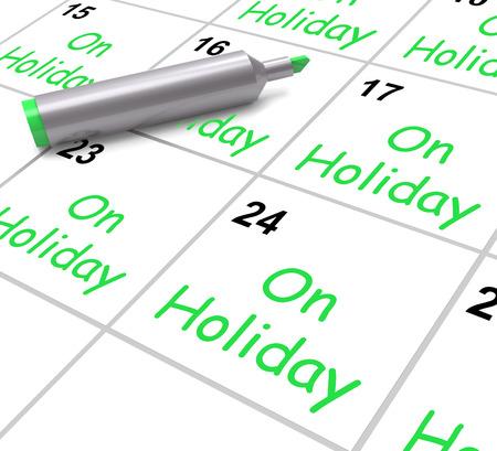 Le calendrier de vacances Affichage des congés annuels ou du temps libre Banque d'images