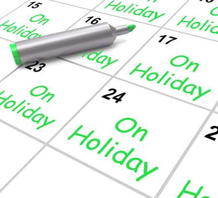 time off: On Holiday Calendar Showing Annual Leave Or Time Off