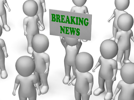 newscast: Breaking News Board Character Showing News Flash And Updates Stock Photo