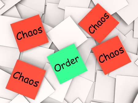 disarray: Order Chaos Post-It Notes Showing Organized Or Confused