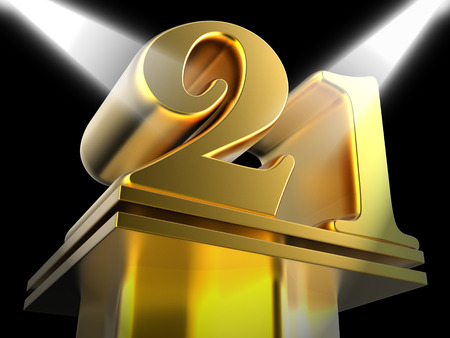 twenty one: Golden Twenty One On Pedestal Meaning Entertainment Awards Or Prizes