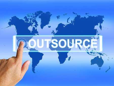 outsource: Outsource Map Meaning Worldwide Subcontracting or Outsourcing Stock Photo
