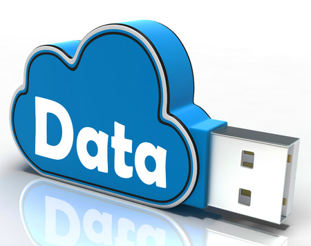 Data Cloud Pen drive Showing Digital Files Storage And Dataflow
