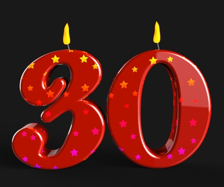 Number Thirty Candles Meaning Red Cake Candles Or Birthday Candles photo