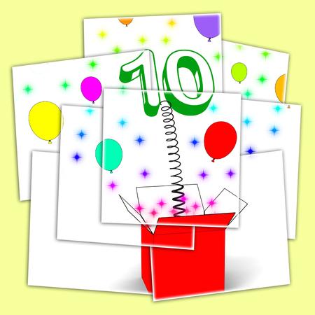 numero diez: Number Ten Sorpresa Caja Viendo num�rico juguete o adorno Foto de archivo