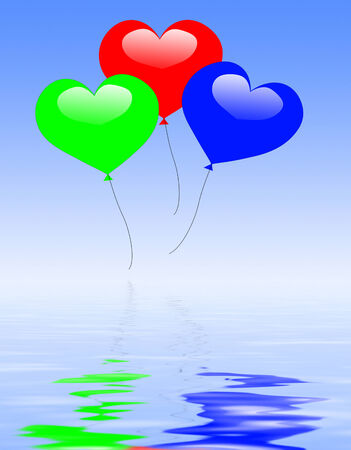 engagement party: Colourful Heart Balloons Displaying Wedding Feast Or Engagement Party