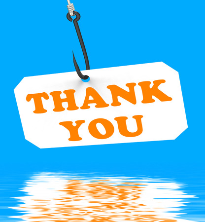 Thank You On Hook Displaying Gratefulness Appreciation And Gratitude Stock Photo