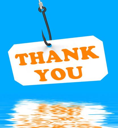 gratefulness: Thank You On Hook Displaying Gratefulness Appreciation And Gratitude Stock Photo