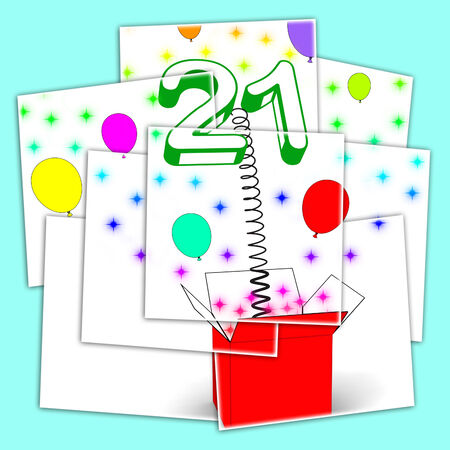 Number Twenty One Surprise Box Displaying Birthday Celebration Or Party photo