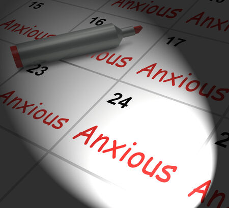 uneasy: Anxious Calendar Displaying Worried Tense And Uneasy Stock Photo