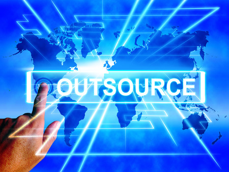 outsource: Outsource Map Displaying Worldwide Subcontracting or Outsourcing Stock Photo