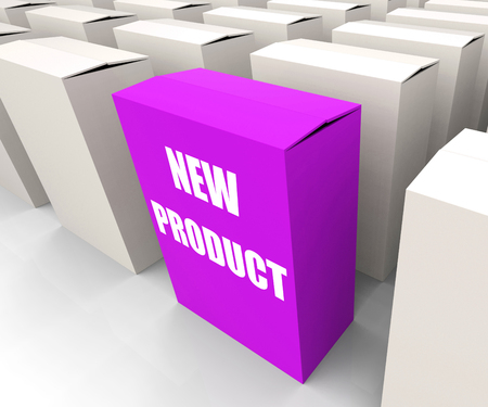 newness: New Product Box Indicating Newness and Advertisement Stock Photo